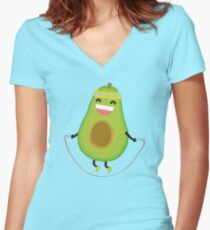 Cute kawaii fitness avocado rope jumping Women's Fitted V-Neck T-Shirt