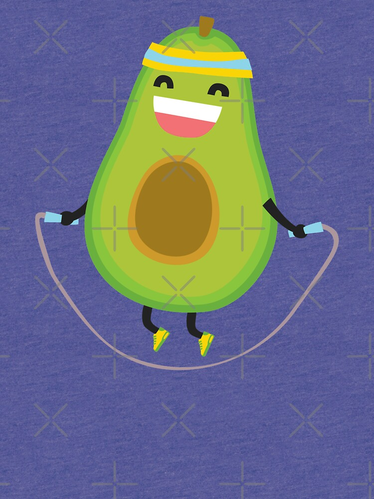 Cute kawaii fitness avocado rope jumping by dmitriylo