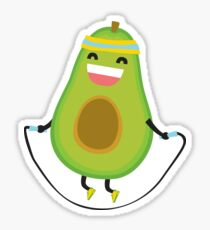 Nettes kawaii Eignung Avocadoseilspringen Sticker