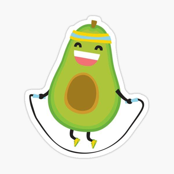 Cute kawaii fitness avocado rope jumping Sticker