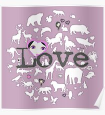 Love All Creatures - White Silhouettes on Dusty Lavender Poster