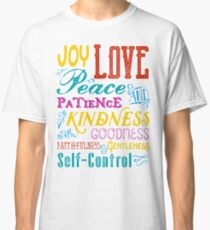 Love Joy Peace Patience Kindness Goodness Typography Art Classic T-Shirt