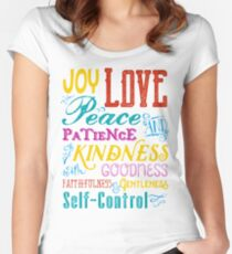Love Joy Peace Patience Kindness Goodness Typography Art Women's Fitted Scoop T-Shirt