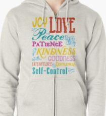 Love Joy Peace Patience Kindness Goodness Typography Art Zipped Hoodie