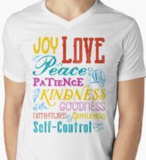 Love Joy Peace Patience Kindness Goodness Typography Art Men's V-Neck T-Shirt