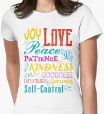 Love Joy Peace Patience Kindness Goodness Typography Art Fitted T-Shirt