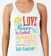 Love Joy Peace Patience Kindness Goodness Typography Art Racerback Tank Top