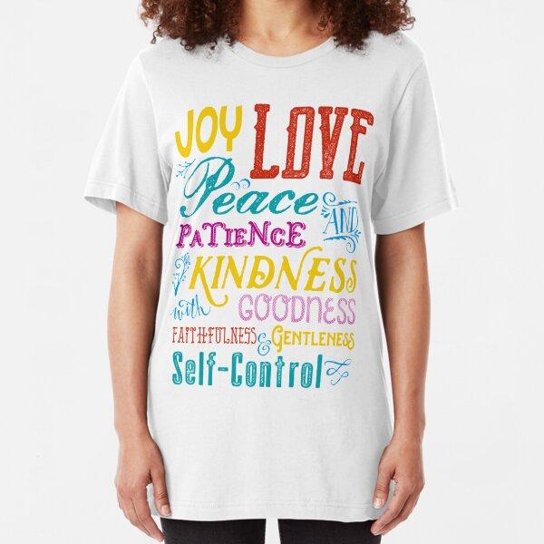 Love Joy Peace Patience Kindness Goodness Typography Art Slim Fit T-Shirt
