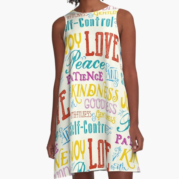 Love Joy Peace Patience Kindness Goodness Typography Art A-Line Dress