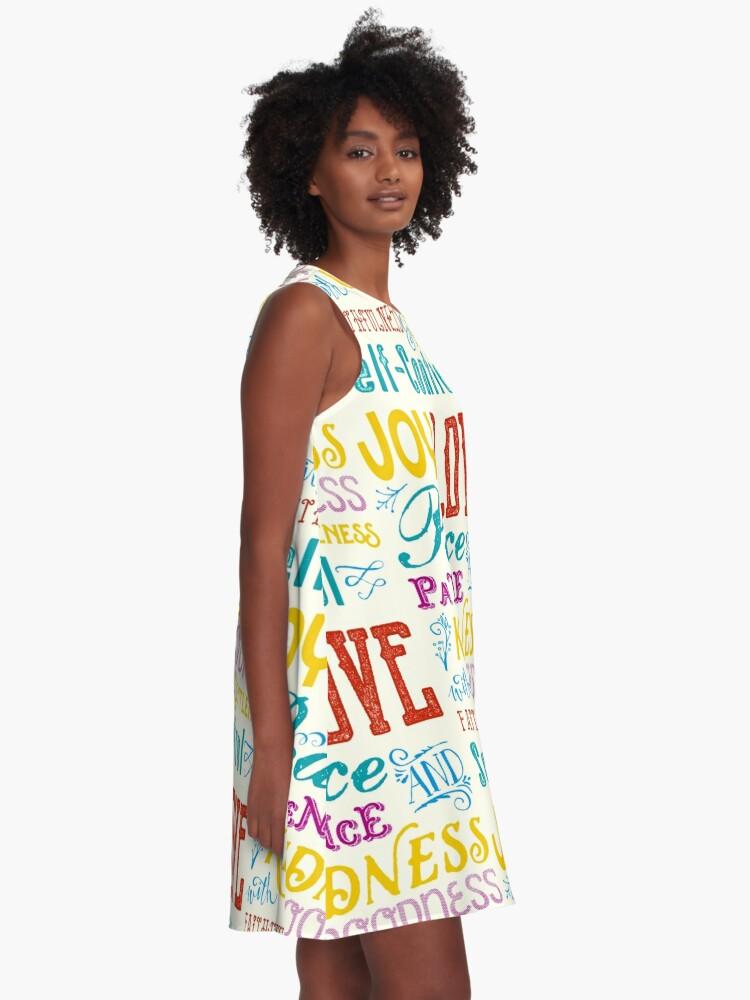 Alternate view of Love Joy Peace Patience Kindness Goodness Typography Art A-Line Dress