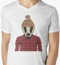 Seb the badger  Men's V-Neck T-Shirt
