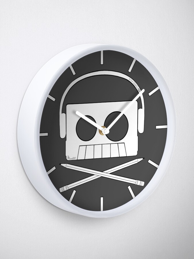Alternate view of X Marks The Beats - Cassette Skull and pencil cross bones Clock