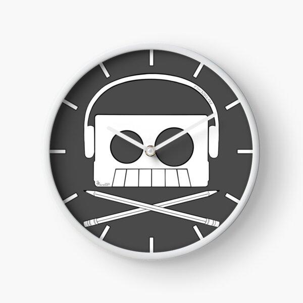X Marks The Beats - Cassette Skull and pencil cross bones Clock