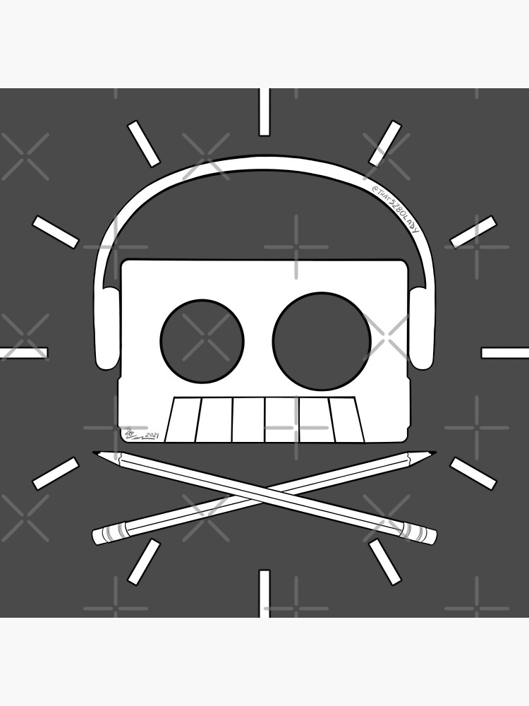 X Marks The Beats - Cassette Skull and pencil cross bones by that5280lady
