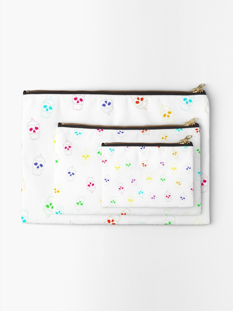 Alternate view of Skull Rainbow Zipper Pouch