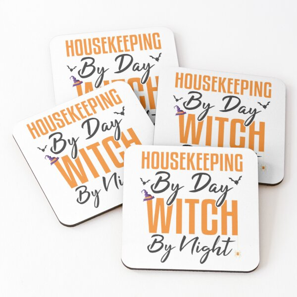Housekeeping By Day Witch By Night, Halloween Housekeeping Coasters (Set of 4)