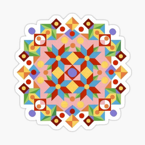 Pink Rolling Star Quilt Design Sticker