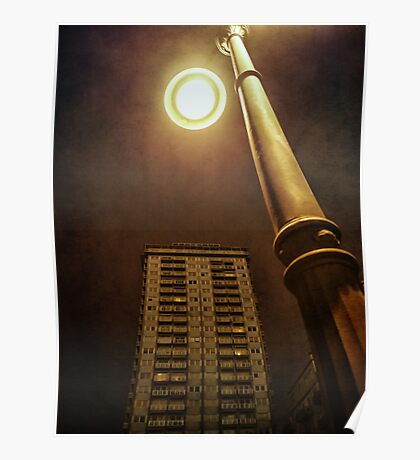 Night with street lamp and building Poster