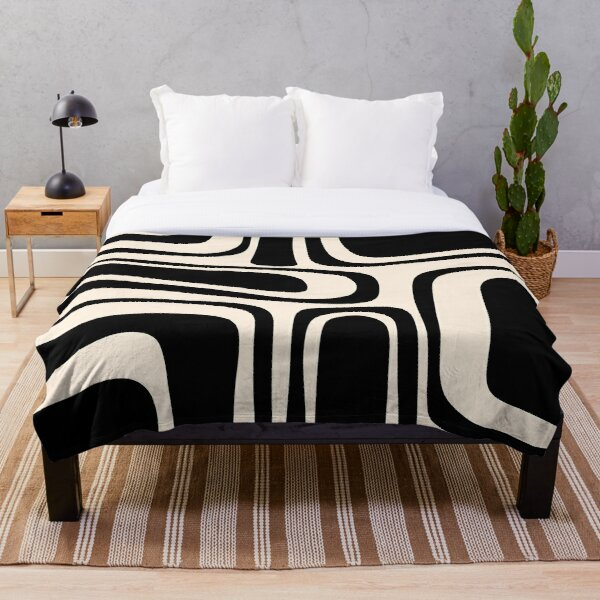 Palm Springs Retro Midcentury Modern Abstract Pattern in Black and Almond Cream Throw Blanket
