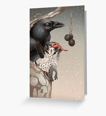 Pixi and crow Greeting Card