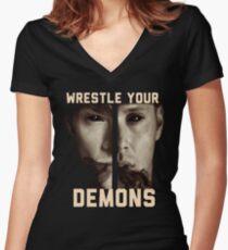 supernatural wrestle your demons sam dean winchesters j2 ackles padalecki jared jensen moose squirrel Women's Fitted V-Neck T-Shirt