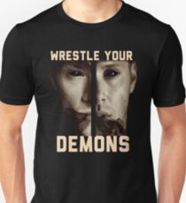 supernatural wrestle your demons sam dean winchesters j2 ackles padalecki jared jensen moose squirrel T-Shirt