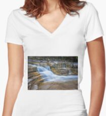 Long Exposure Waterfall Women's Fitted V-Neck T-Shirt