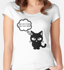 black cat kitty superstition animal pet cute for girls girly Women's Fitted Scoop T-Shirt