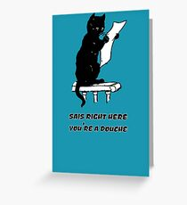 black cat reading kitty illustration animal pet cute for girls girly Greeting Card