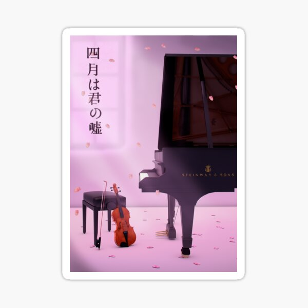 Piano & Violin a love story - Your lie in April Sticker
