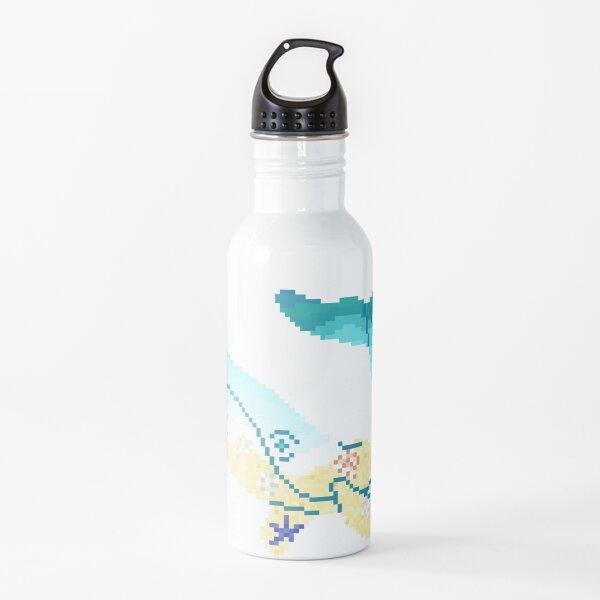 Modern Ocean Whale Cute Beach Gradient (Stone Blue) Water Bottle
