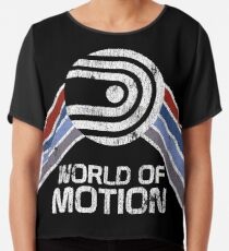 World of Motion Logo im Vintage Distressed Stil Chiffontop
