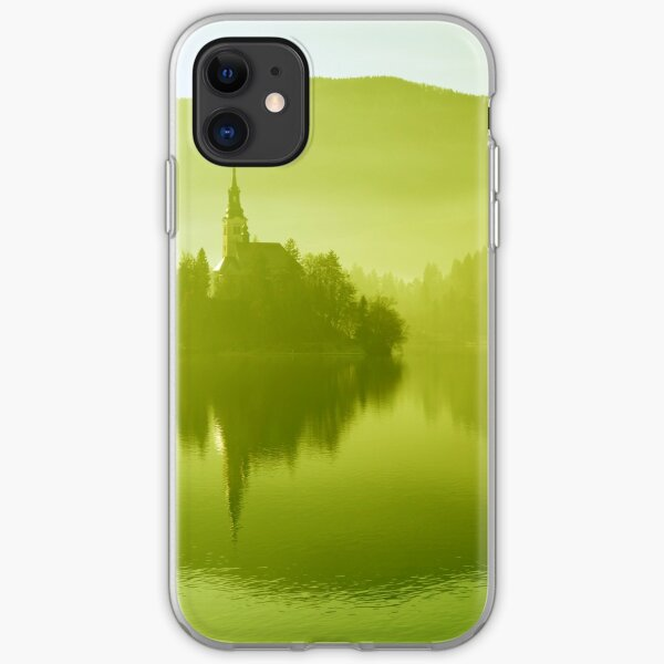 Church in mist on Lake Bled Slovenia iPhone Soft Case