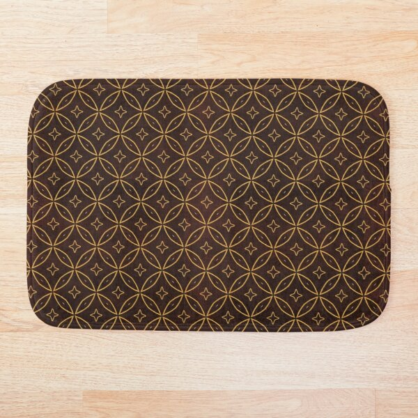 Brown Oriental Traditional African Moroccan Style Pattern Bath Mat