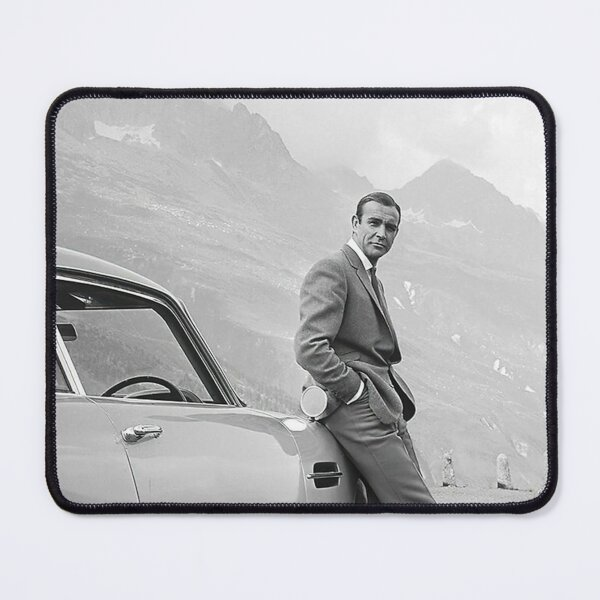 Sean Connery and Sports Car  Black and White Vintage  Mouse Pad