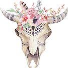 Colorful Flowers & Boho Tribal Skull by artonwear