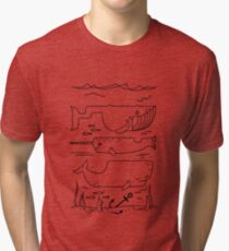Geometric whales ocean art sea lover illustration Tri-blend T-Shirt
