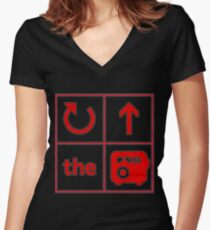 Turn Up the Radio Grid Women's Fitted V-Neck T-Shirt