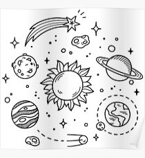 Space Tumblr Drawing Poster
