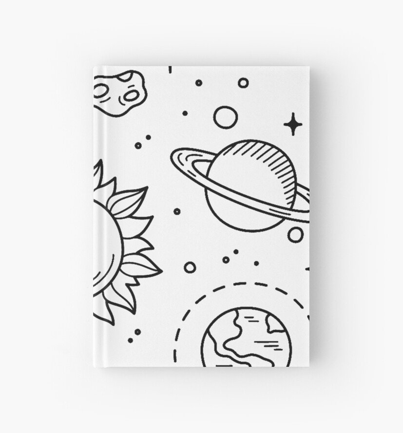 Space Tumblr Drawing Hardcover Journals By Glennstevens Redbubble