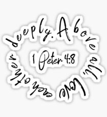 1 Peter 4:8 Bible Quote Love Heart Sticker