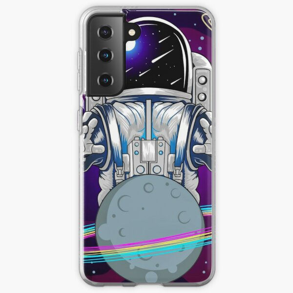 Astronaut and planet in space Samsung Galaxy Soft Case