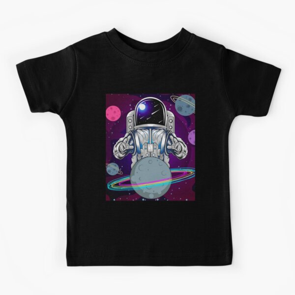 Astronaut and planet in space Kids T-Shirt