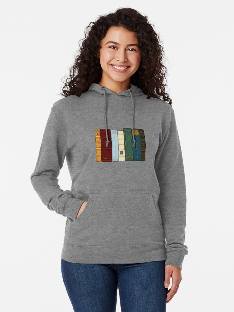 Vista alternativa de Sudadera ligera con capucha Amo la literatura