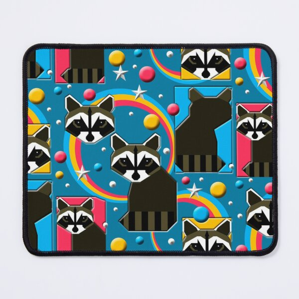 1980's Retro Raccoons in Aquas, Pinks, and Yellows with White Stars Mouse Pad
