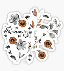 Orange Blumenmuster Sticker
