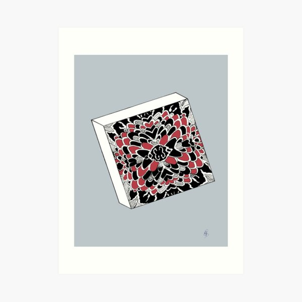 The cube in red & silver - The dice in red & silver Art Print