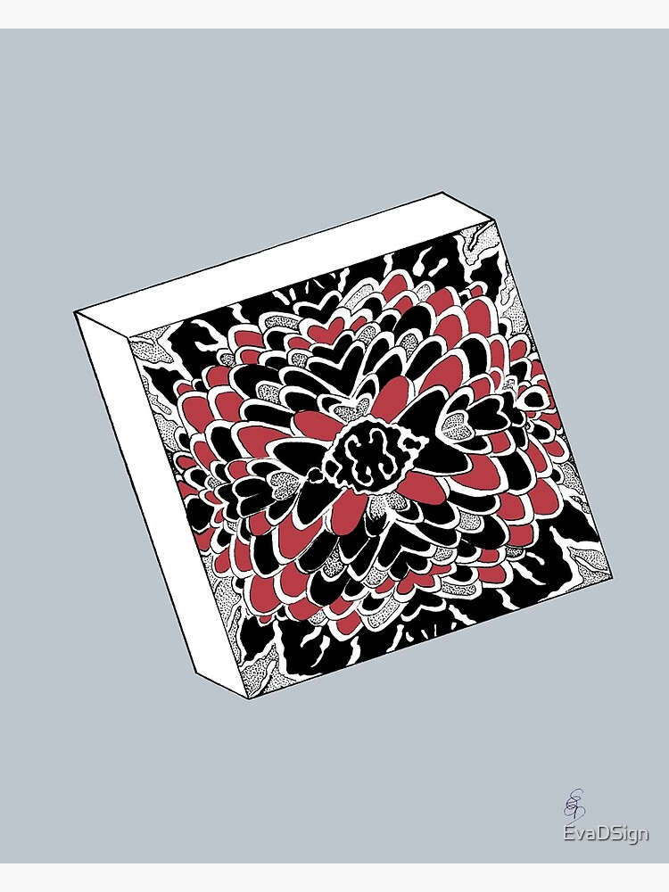Der Würfel in rot & silber - The dice in red & silver von EvaDSign