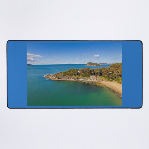 Morning seascape views with headland and island Desk Mat