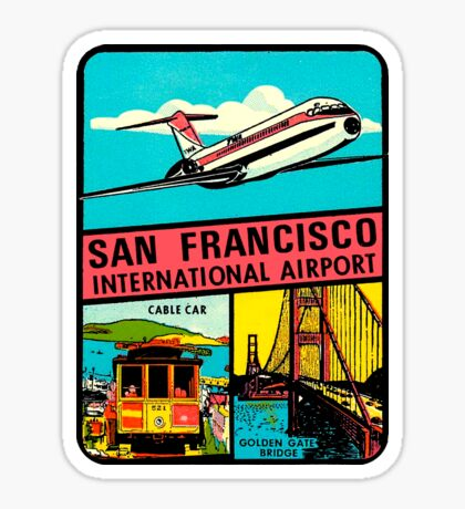 San Francisco International Airport Vintage Travel Decal Sticker